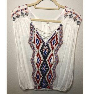 Free People Embroider Top with Tassel